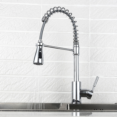 Single hole pull down kitchen faucet with spring load SW-KF002