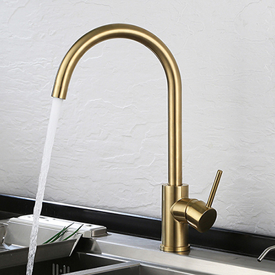 Single handle brushed gold kitchen faucet SW-KF008